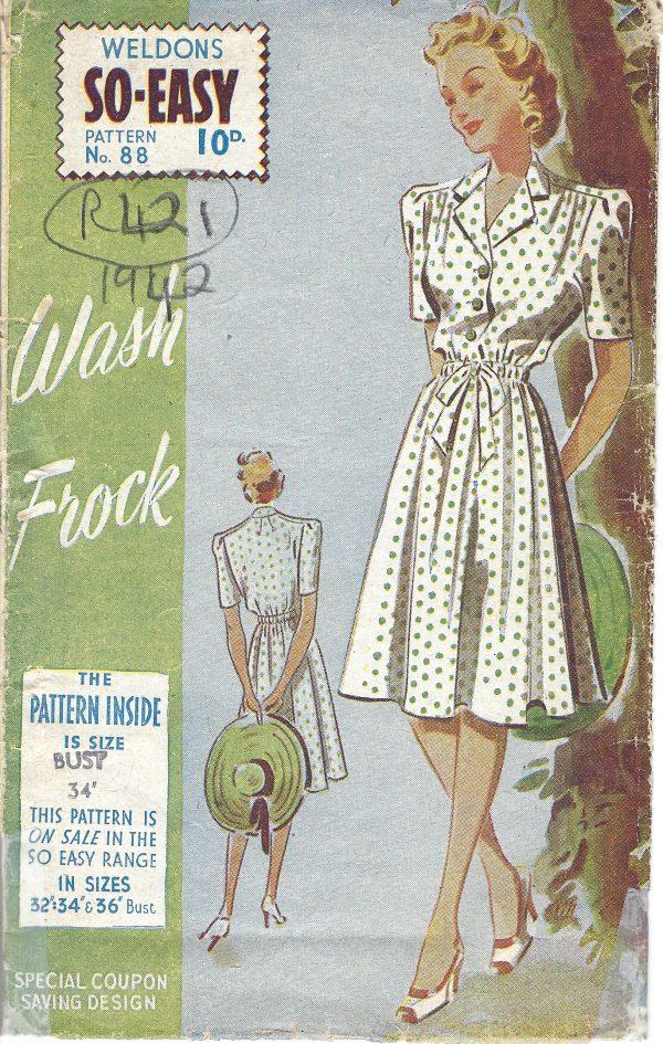 1942 WW2 Vintage Sewing Pattern B34\