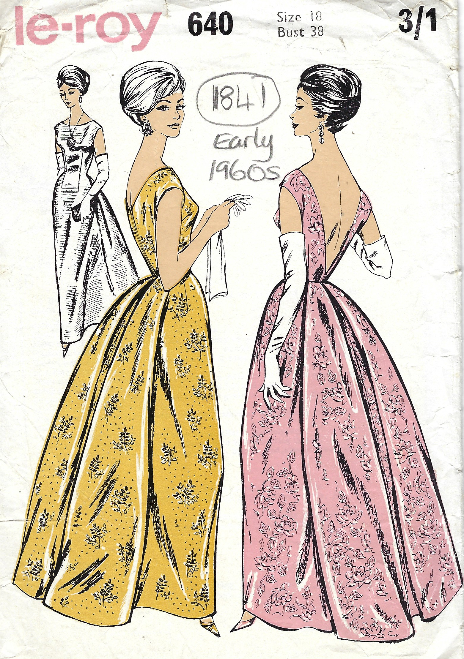 1960s Vintage Sewing Pattern B38 EVENING DRESS (1841) By ...