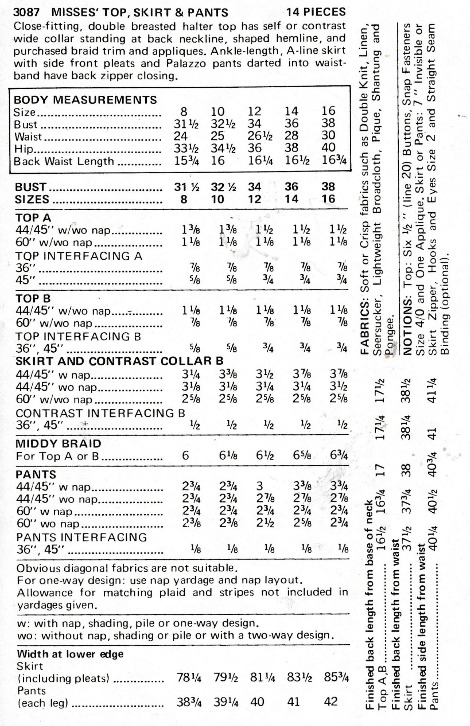 Screenshot 2021-07-07 at 19-36-40 Vintage Butterick 3087 Sewing Pattern Women's Misses' Etsy