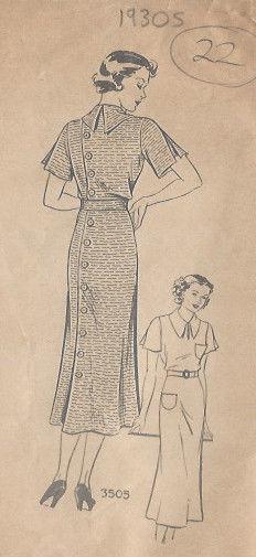 1930s-Vintage-Sewing-Pattern-DRESS-B36-22-251141726320