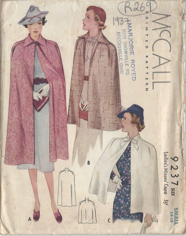 1937-Vintage-Sewing-Pattern-CAPE-B32-34-R269-251161721000