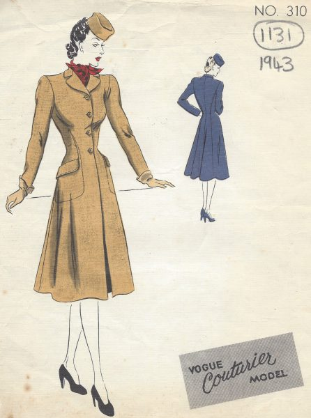 1943-WW2-Vintage-VOGUE-Sewing-Pattern-B30-COAT-1131-261308353110