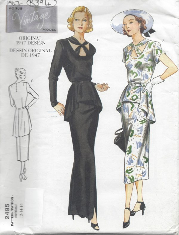 1947-Vintage-VOGUE-Sewing-Pattern-B34-36-38-DRESS-R394-251157411520