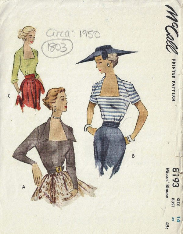 1950-Vintage-Sewing-Pattern-B32-BLOUSE-1803-262919131740