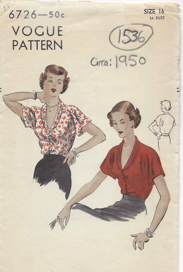 1950-Vintage-VOGUE-Sewing-Pattern-B34-BLOUSE-1536-252119917980