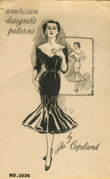 1950s-Vintage-Sewing-Pattern-B36-12-WIGGLE-DRESS-R756-By-Jo-Copeland-251182457920