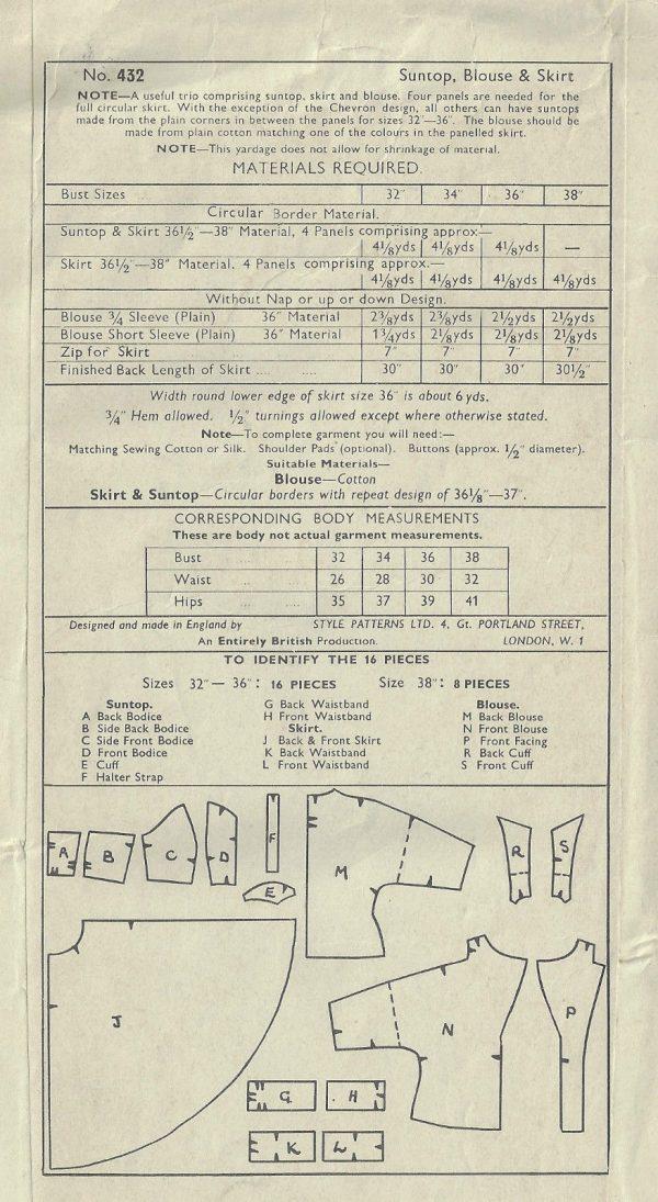 1950s-Vintage-Sewing-Pattern-B36-W30-SUNTOP-BLOUSE-CIRCULAR-SKIRT-1824R-252882283850-2