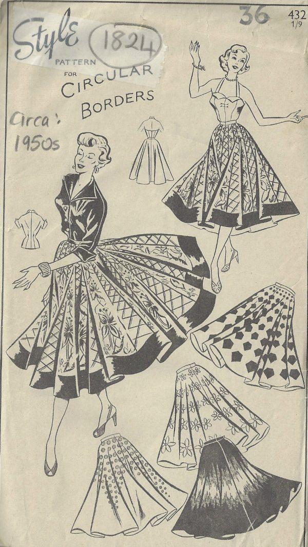 1950s-Vintage-Sewing-Pattern-B36-W30-SUNTOP-BLOUSE-CIRCULAR-SKIRT-1824R-252882283850