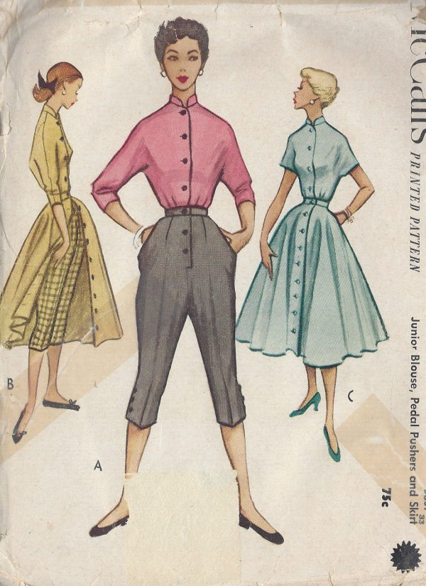 1952-Vintage-Sewing-Pattern-B33-W27-SKIRT-BLOUSE-PEDAL-PUSHERS-R824-261161376990
