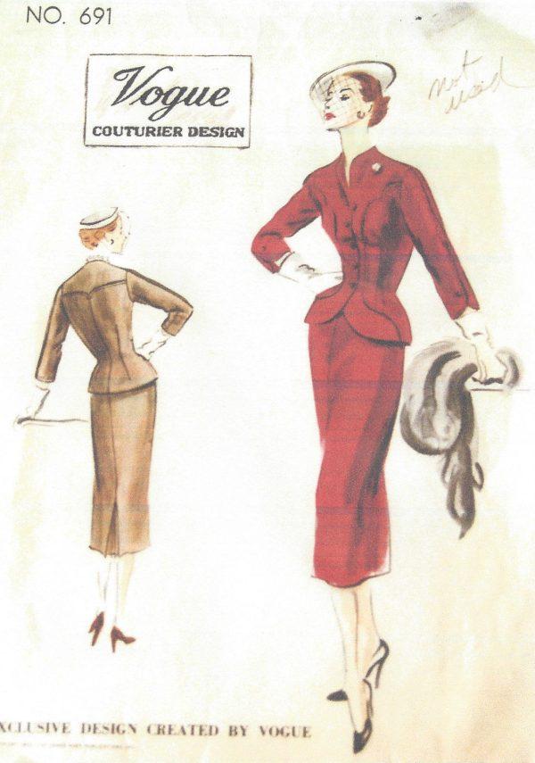 1952 Vintage VOGUE Sewing Pattern B34 SUIT-JACKET & SKIRT (1110 ...