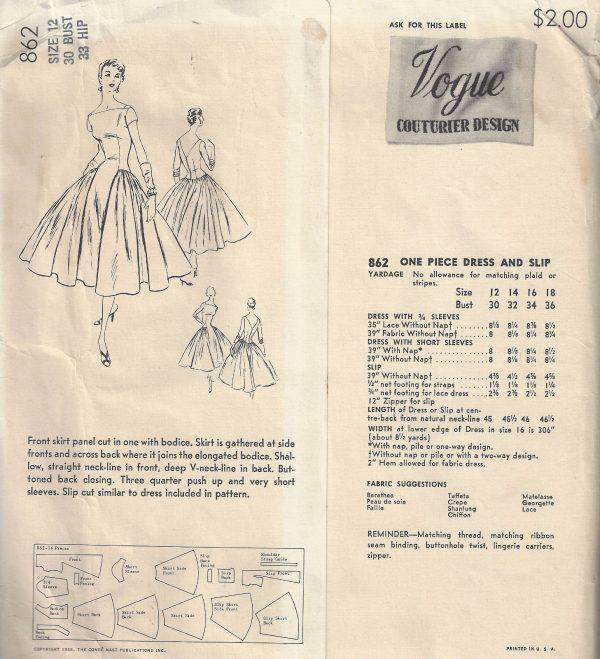 1955-Vintage-VOGUE-Sewing-Pattern-B30-ONE-PIECE-DRESS-SLIP-1768-252704168710-2
