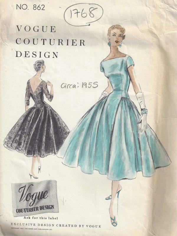 1955-Vintage-VOGUE-Sewing-Pattern-B30-ONE-PIECE-DRESS-SLIP-1768-252704168710