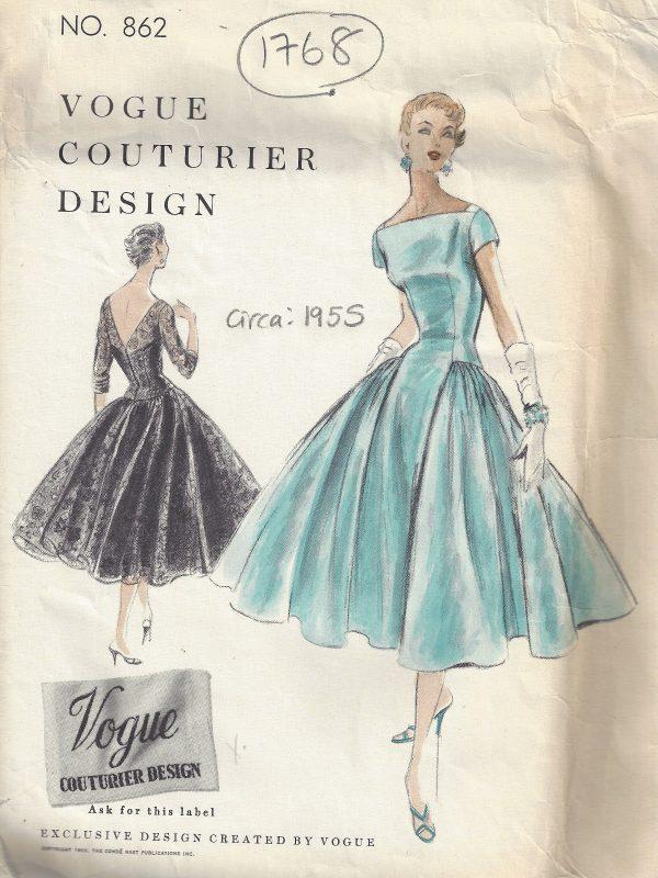 1955-Vintage-VOGUE-Sewing-Pattern-B30-ONE-PIECE-DRESS-SLIP-1768-252704168710
