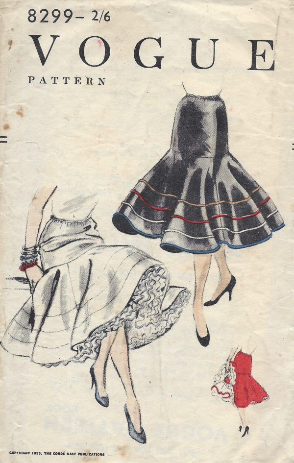 1955-Vintage-VOGUE-Sewing-Pattern-W24-30-SKIRT-PETTICOAT-ELASTIC-WAIST-1252R-262517767400