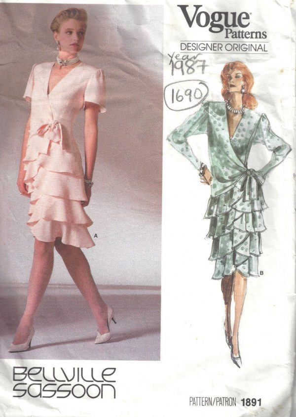 1987-Vintage-VOGUE-Sewing-Pattern-DRESS-B36-1690-By-BELLVILLE-SASSOON-262557539890