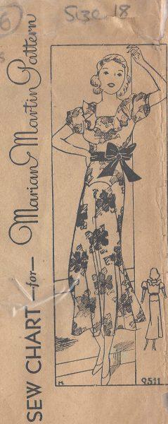 1930s-Vintage-Sewing-Pattern-DRESS-B36-R506-MARIAN-MARTIN-251142496011