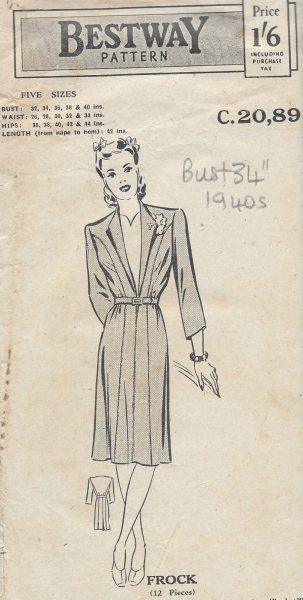 1940s-Vintage-Sewing-Pattern-B34-DRESS-181-251173289151