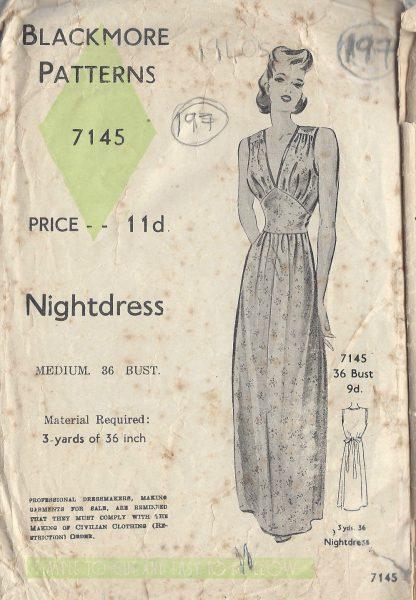 1940s-Vintage-Sewing-Pattern-B36-NIGHTDRESS-197-251146696001