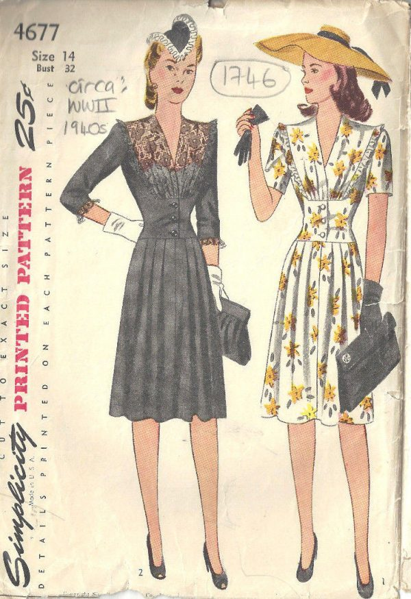 1940s Ww2 Vintage Sewing Pattern B32 Quot Dress 1746 The