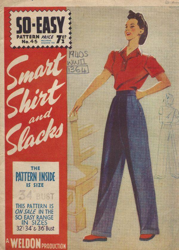 1940s-WW2-Vintage-Sewing-Pattern-B34-SHIRT-PANTS-TROUSERS-SLACKS-1364R-252017533541