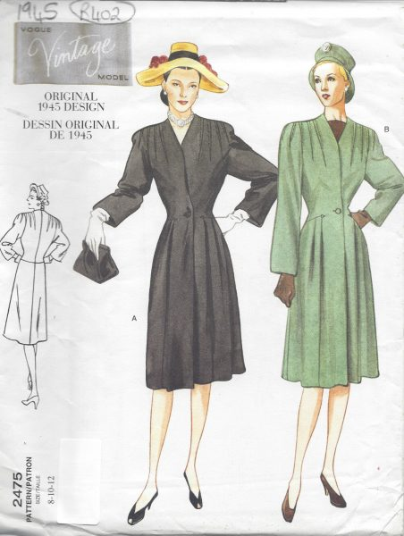 1945-Vintage-VOGUE-Sewing-Pattern-COAT-B31-12-32-12-34-R402-251157403101