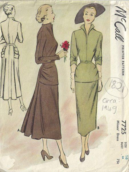 1949-Vintage-Sewing-Pattern-B34-DRESS-1821-252882184111
