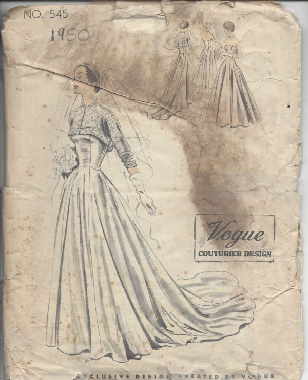 1950-Vintage-VOGUE-Sewing-Pattern-B36-BRIDAL-EVENING-DRESS-BOLERO-R767-262319635401-2