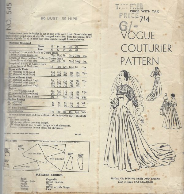 1950-Vintage-VOGUE-Sewing-Pattern-B36-BRIDAL-EVENING-DRESS-BOLERO-R767-262319635401-3