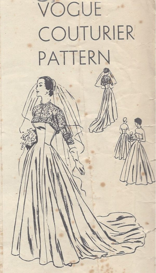 1950-Vintage-VOGUE-Sewing-Pattern-B36-BRIDAL-EVENING-DRESS-BOLERO-R767-262319635401
