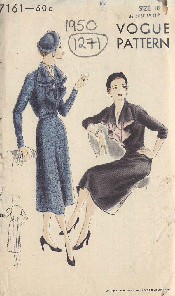 1950-Vintage-VOGUE-Sewing-Pattern-B36-DRESS-1271-251563245021