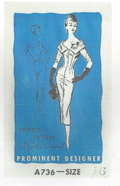 1950s-Vintage-Sewing-Pattern-DRESS-B36-S-16-14-A-Gothe-Original-251141634921