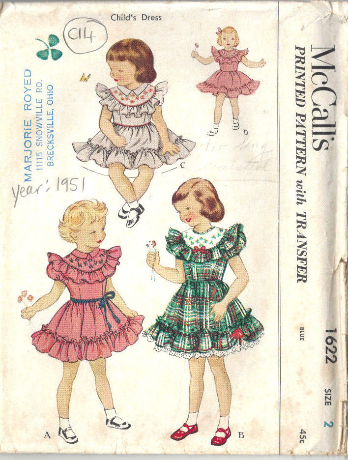 1951 Childrens Vintage Sewing Pattern S2 B21 DRESS with ...