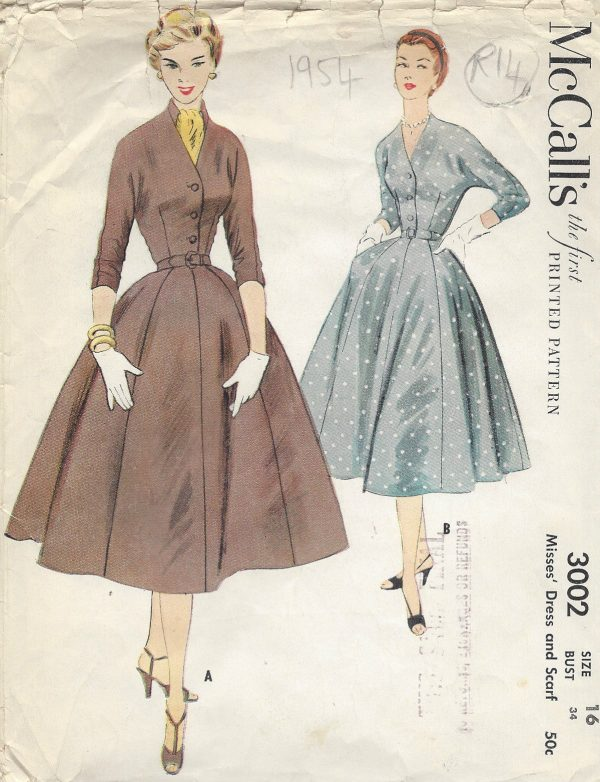 1954-Vintage-Sewing-Pattern-B34-DRESS-R14-251172226501
