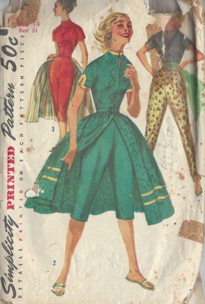 1956-Vintage-Sewing-Pattern-B34-PANTS-BLOUSE-OVERSKIRT-R987-252464846201