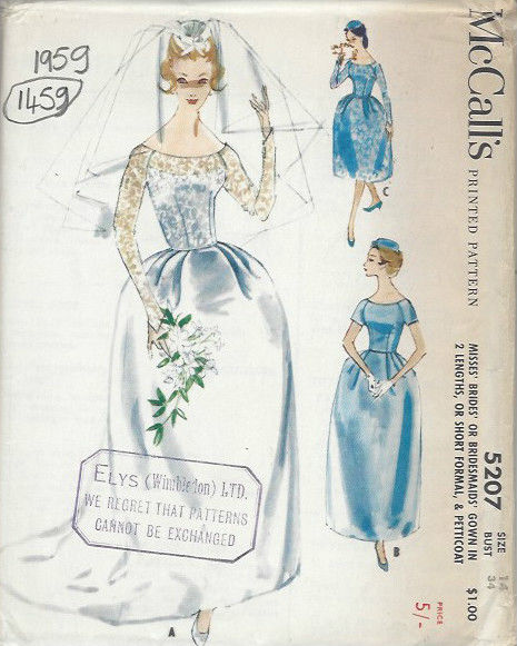 1959-Vintage-Sewing-Pattern-B34-BRIDES-BRIDESMAIDS-DRESS-PETTICOAT-1459R-261959923301