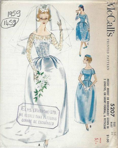 1959-Vintage-Sewing-Pattern-B34-BRIDES-BRIDESMAIDS-DRESS-PETTICOAT-1459R-261959923301