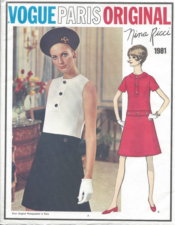 1960s-Vintage-VOGUE-Sewing-Pattern-B34-DRESS-1032-By-Nina-Ricci-261233039761