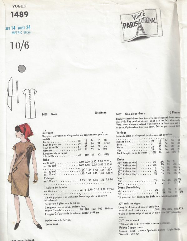 1965-Vintage-VOGUE-Sewing-Pattern-B34-ONE-PIECE-DRESS-SCARF-1775-By-Molyneux-252704382711-2