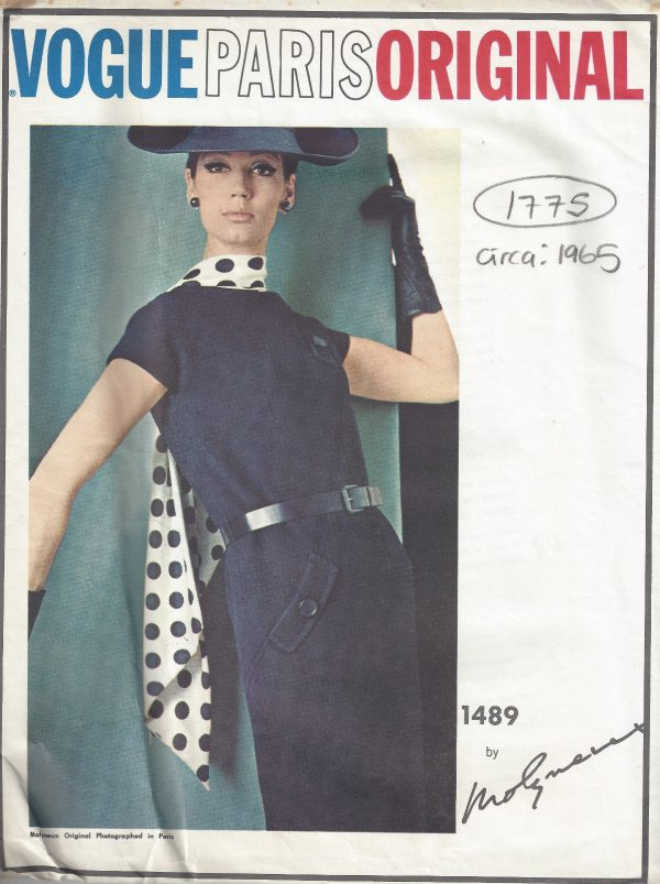 1965-Vintage-VOGUE-Sewing-Pattern-B34-ONE-PIECE-DRESS-SCARF-1775-By-Molyneux-252704382711