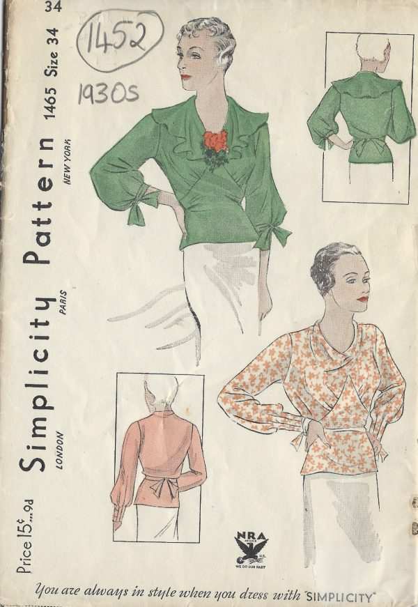 1930s-Vintage-Sewing-Pattern-B34-BLOUSE-1452-261954791532