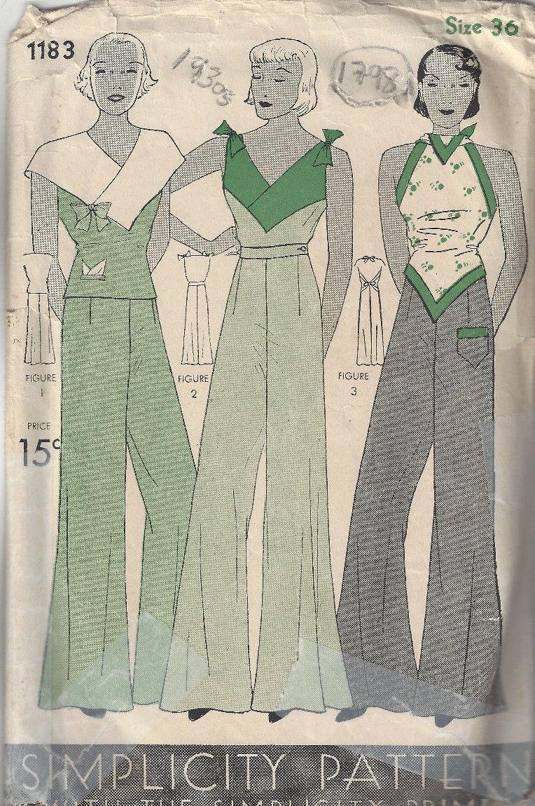 1930s Vintage Sewing Pattern B36 Blouse Amp Pajame Pants