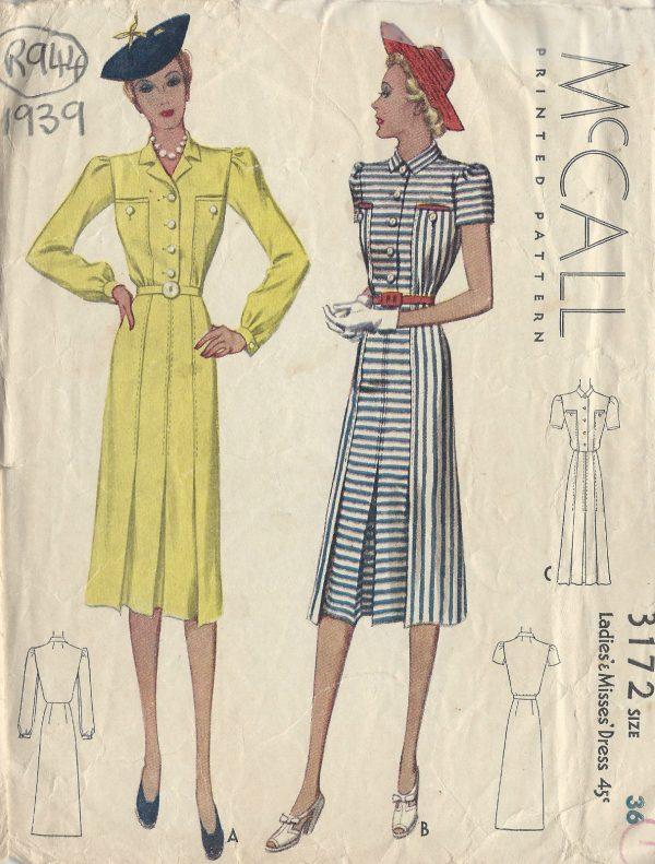 1939 Vintage Sewing Pattern B36 DRESS (R944) - The Vintage Pattern Shop