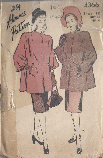 1940s-Vintage-Sewing-Pattern-B30-COAT-101-251173700442