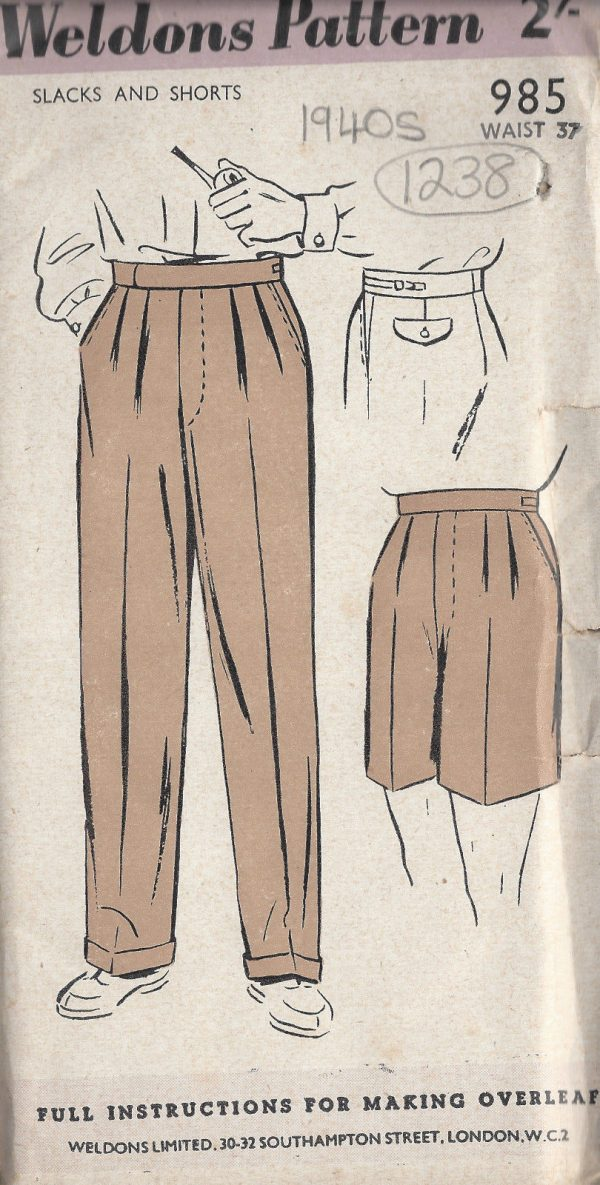 1940s-Vintage-Sewing-Pattern-W37-MENS-PANTS-TROUSERS-SHORTS-1238-261457464242