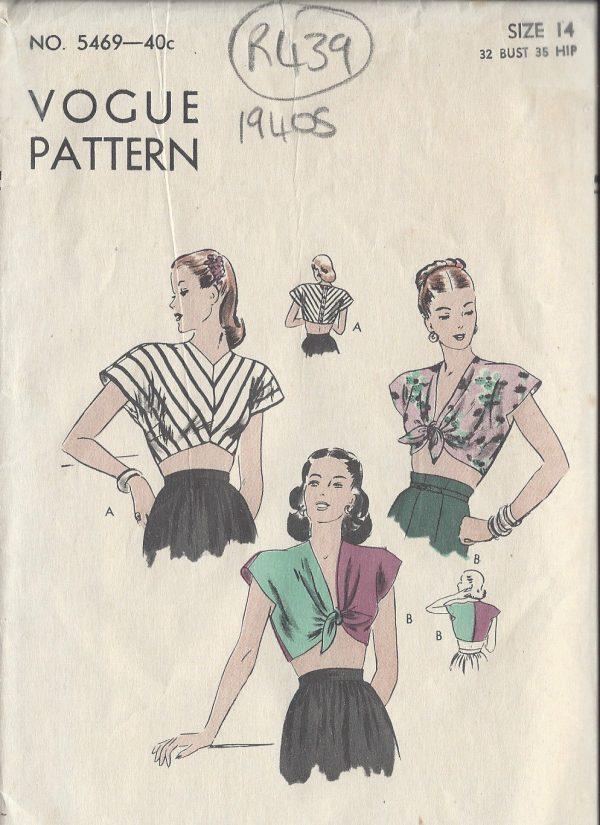 1940s-Vintage-VOGUE-Sewing-Pattern-B32-BLOUSE-R439-252402973652