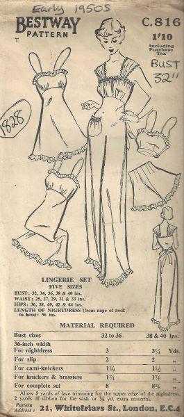 1950s-Vintage-Sewing-Pattern-B32-CAMI-KNICKERS-SLIP-NIGHTDRESS-BRASSIER-1828-252882853382