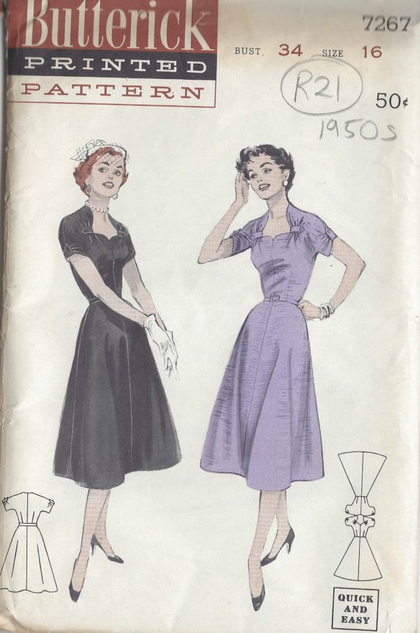 1950s-Vintage-Sewing-Pattern-B34-DRESS-R21-251172246902