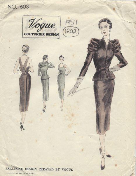 1951-Vintage-VOGUE-Sewing-Pattern-B30-JACKET-DRESS-1202R-262950130082