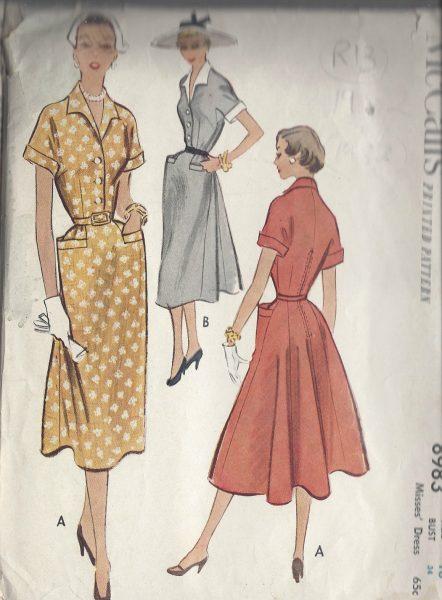 1952-Vintage-Sewing-Pattern-B34-DRESS-R13-251172227572