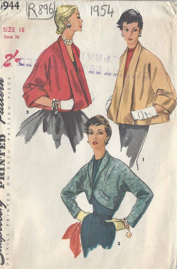 1954-Vintage-Sewing-Pattern-B36-JACKETS-R896-261175378162